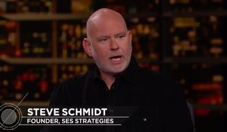 Late-night comedian Bill Maher declined to ask Lincoln Project co-founder Steve Schmidt just hours after Mr. Schmidt's resignation about the sex scandal that has rocked the anti-Trump Republican group. (Screenshot via HBO)