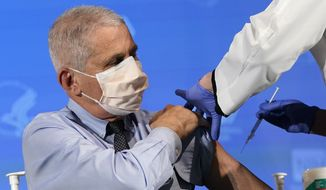 Dr. Anthony Fauci, director of the National Institute of Allergy and Infectious Diseases, prepares to receive his first dose of the COVID-19 vaccine at the National Institutes of Health in Bethesda, Maryland, Dec. 22, 2020. (AP Photo/Patrick Semansky, Pool) **FILE**