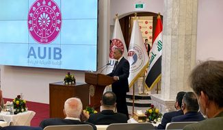 Iraqi Prime Minister Mustafa al-Kadhimi speaks during the opening ceremony of the American University in Baghdad, Iraq, Sunday, Feb. 14, 2021. (AP Photo/Hadi Mizban)