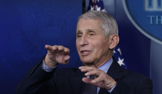 In this Jan. 21, 2021 file photo, Dr. Anthony Fauci, director of the National Institute of Allergy and Infectious Diseases, speaks with reporters at the White House, in Washington. (AP Photo/Alex Brandon, File)
