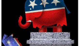 Illustration on the changed GOP base by Alexander Hunter/The Washington Times