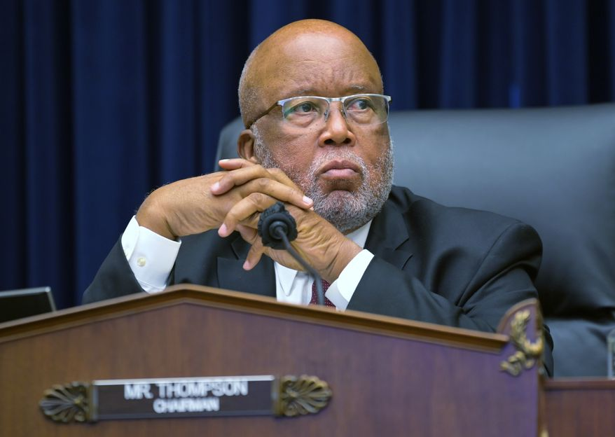 In this Sept. 17, 2020, file photo, Committee Chairman Rep. Bennie Thompson, D-Miss., speaks during a House Committee on Homeland Security hearing on 'worldwide threats to the homeland', on Capitol Hill Washington. Thompson has sued former President Donald Trump, alleging Trump incited the deadly insurrection at the U.S. Capitol. (John McDonnell/The Washington Post via AP, Pool)