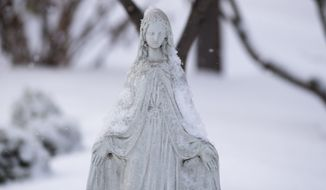 A snow-covered statue of the Virgin Mary is shown on Tuesday, Feb. 16, 2021 in Columbus, Ohio. (Joshua A. Bickel /The Columbus Dispatch via AP)  ** FILE **