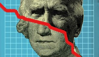 Illustration on investing under Biden by Linas Garsys/The Washington Times