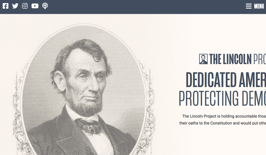 Screen capture taken Feb. 17, 2021, of the home page for the Lincoln Project.