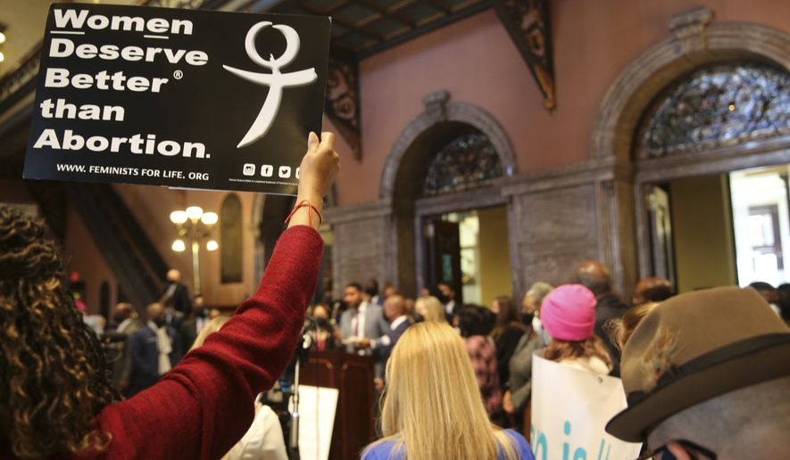Rep. Justin Bamberg, D-Bamberg, speaks against an abortion bill at a news conference in the Statehouse on Wednesday, Feb. 17, 2021 in Columbia, S.C. Democrats walked out during the debate. (AP Photo/Jeffrey Collins)