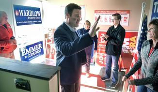 FILE - In this Oct. 20, 2018 file photo, Doug Wardlow, an attorney general candidate greets supporters during a campaign stop in St. Cloud, Minn. Republican Doug Wardlow announced Wednesday, Feb. 17, 2021, he's running again for Minnesota attorney general. Wardlow lost the 2018 race to Democrat Keith Ellison by about 4 percentage points. (Dave Schwarz/The St. Cloud Times via AP File)