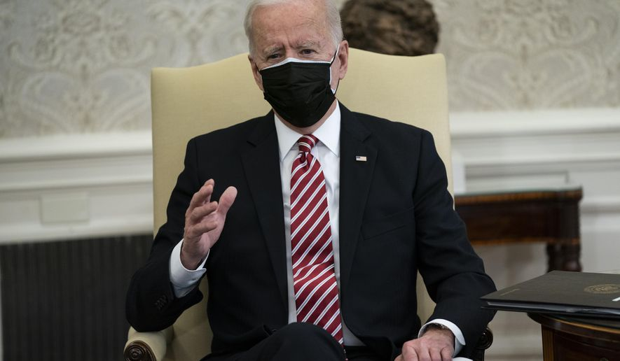 President Joe Biden speaks during a meeting with labor leaders in the Oval Office of the White House, Wednesday, Feb. 17, 2021, in Washington. (AP Photo/Evan Vucci)