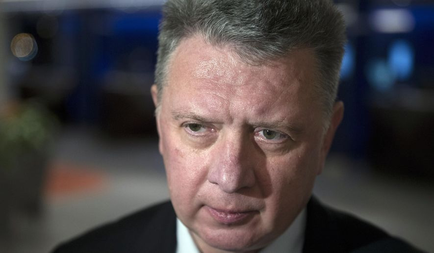FILE - In this Monday, Jan. 23, 2017 file photo, the president of the All-Russia Athletic Federation, Dmitry Shlyakhtin, speaks to the media in Moscow, Russia. Dmitry Shlyakhtin, the former head of Russia's track and field federation was among five officials banned Wednesday Feb. 17, 2021 for obstructing an anti-doping investigation into a world champion. (AP Photo/Pavel Golovkin, File)