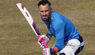 FILE - In this Monday, Feb. 1, 2021 file photo, South Africa's Faf du Plessis bats during a practice session at the Pindi Stadium, in Rawalpindi, Pakistan. Former South Africa captain Faf du Plessis retired from test cricket on Wednesday Feb. 17, 2021, after being denied the chance of a home farewell by Australia's decision to cancel next month's tour. AP Photo/Anjum Naveed, File)