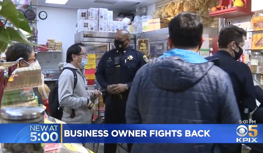 """Police in Oakland's Chinatown say they only want """"good witnesses"""" to crime instead of locals taking matters into their own hands. New Oakland Chief of Police LeRonne Armstrong made the comment after the arrest of a businessman who used his personal firearm to end a Feb. 15 robbery outside his store. (Image: KPIX-5 CBS video screenshot)"""