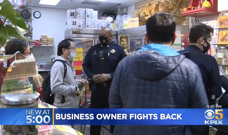 "Police in Oakland's Chinatown say they only want ""good witnesses"" to crime instead of locals taking matters into their own hands. New Oakland Chief of Police LeRonne Armstrong made the comment after the arrest of a businessman who used his personal firearm to end a Feb. 15 robbery outside his store. (Image: KPIX-5 CBS video screenshot)"