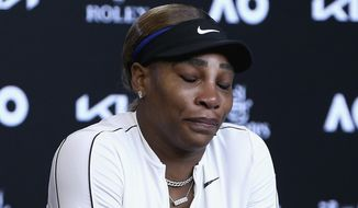 United States' Serena Williams reacts during a press conference following her semifinal loss to Japan's Naomi Osaka at the Australian Open tennis championship in Melbourne, Australia, Thursday, Feb. 18, 2021.(Rob Prezioso/Tennis Australia via AP) **FILE**