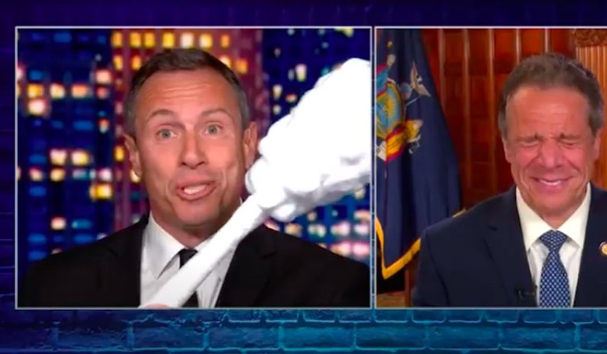 """CNN said Wednesday night it has reinstituted a ban that prohibits """"Prime Time"""" host Chris Cuomo from covering his older brother, New York Gov. Andrew Cuomo, amid a nursing home scandal that has rocked the Democrat's administration. (Screengrab via CNN)"""