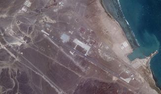 A Feb. 5, 2021, satellite photo from Planet Labs Inc. shows an Emirati military base in Assab, Eritrea. The United Arab Emirates is dismantling parts of a military base it runs in the East African nation of Eritrea after it pulled back from the grinding war in nearby Yemen, satellite photos analyzed by The Associated Press show. (Planet Labs Inc. via AP)