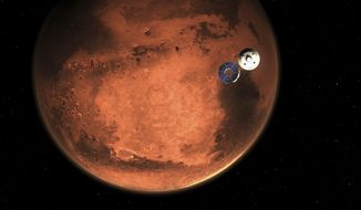 In this illustration made available by NASA, the Perseverance rover casts off its spacecraft's cruise stage, minutes before entering the Martian atmosphere. (NASA/JPL-Caltech via AP)