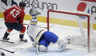 Washington Capitals right wing Tom Wilson (43) scores a goal against Buffalo Sabres goaltender Linus Ullmark (35) during the second period of an NHL hockey game Thursday, Feb. 18, 2021, in Washington. (AP Photo/Nick Wass)
