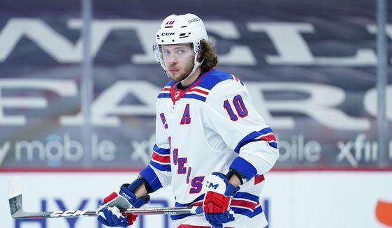 New York Rangers' Artemi Panarin plays during an NHL hockey game against the Philadelphia Flyers, Thursday, Feb. 18, 2021, in Philadelphia. (AP Photo/Matt Slocum)