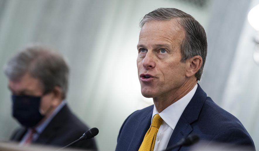 "FILE - In this Jan. 26, 2021, file photo, Sen. John Thune, R-S.D., speaks on Capitol Hill in Washington. In an interview with The Associated Press, Sen. Thune, the chamber's No. 2 Republican, likened Trump's insults of Minority Leader Mitch McConnell to ""food fights within the family,"" saying they hurt the Republican party's goals. Thune also talked about his vote to acquit Trump of inciting the attack on the U.S. Capitol that left five people dead. (Tom Williams/Pool Photo via AP File)"