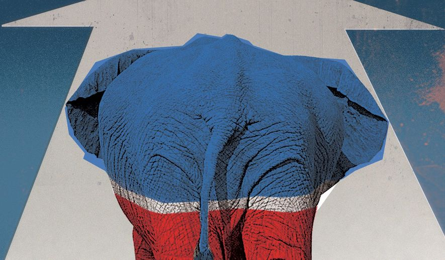 Illustration on the future of the GOP by Linas Garsys/The Washington Times