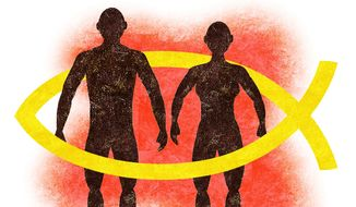 Illustration on two sexes and Christian belief by Alexander Hunter/The Washington Times