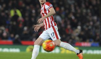 FILE - In this file photo dated Sunday, Jan. 17, 2016, Stoke City's captain Ryan Shawcross during the English Premier League soccer match against Arsenal at the Britannia Stadium, Stoke on Trent, England.  Stoke City has terminated the contract of 33-year old Ryan Shawcross, by mutual consent, to allow the centre back to pursue a move to Inter Miami a club co-owned by David Beckham and coached by Phil Neville. (AP Photo/Rui Vieira, FILE)