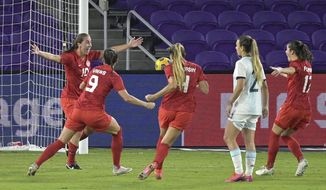 Canada midfielder Sarah Stratagakis (10) celebrates with teammates after scoring a goal during the second half of a SheBelieves Cup women's soccer match against Argentina, Sunday, Feb. 21, 2021, in Orlando, Fla. (AP Photo/Phelan M. Ebenhack)
