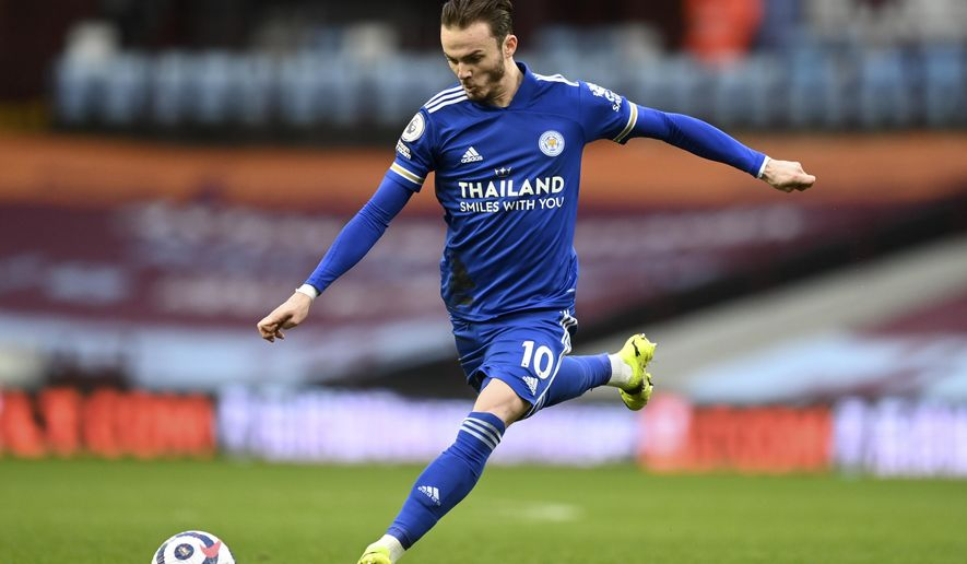 Leicester's James Maddison kicks the ball during the English Premier League soccer match between Aston Villa and Leicester City at Villa Park in Birmingham, England, Sunday, Feb. 21, 2021. (AP Photo/Michael Regan, Pool)