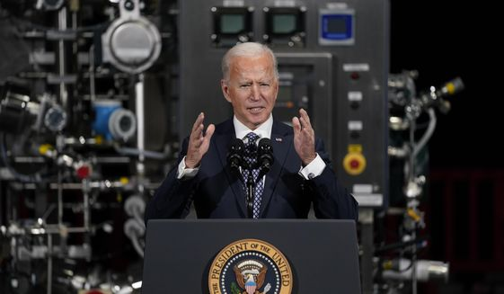 President Joe Biden speaks after a tour of a Pfizer manufacturing site in Portage, Mich. (AP Photo/Evan Vucci, File)
