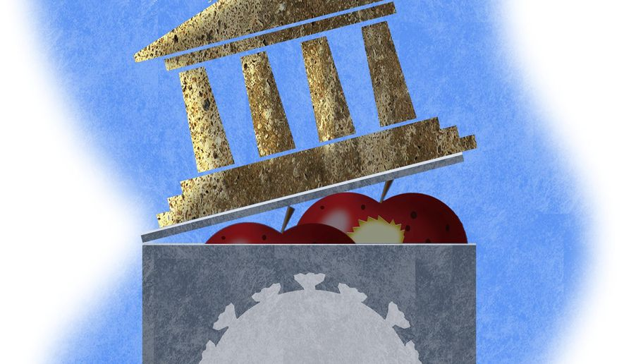 Illustration on reopening schools by Alexander Hunter/The Washington Times