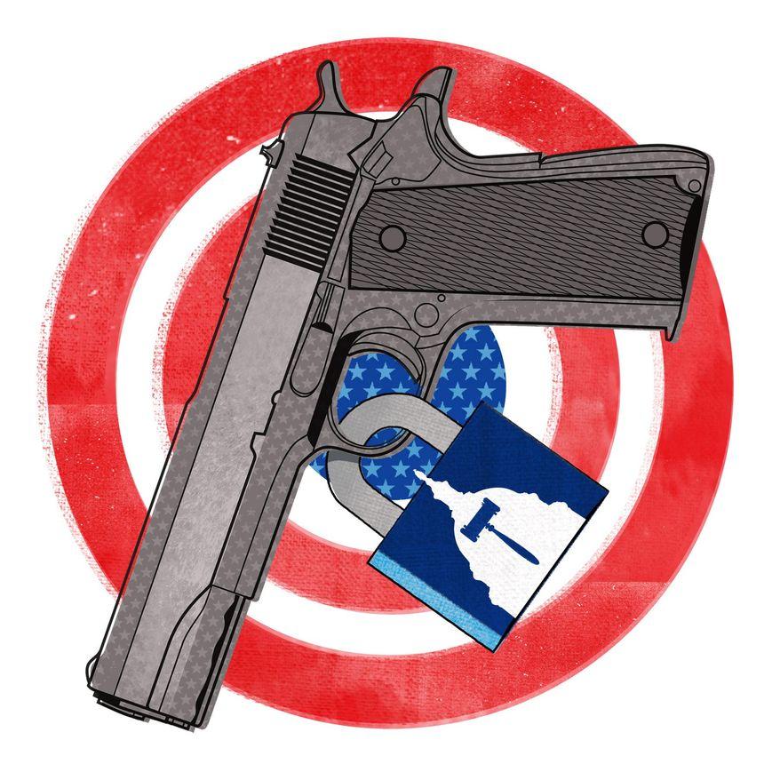 Illustration on Biden and gun control by Linas Garsys/The Washington Times