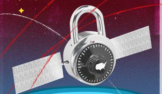 Illustration on space security by Linas Garsys\The Washington Times