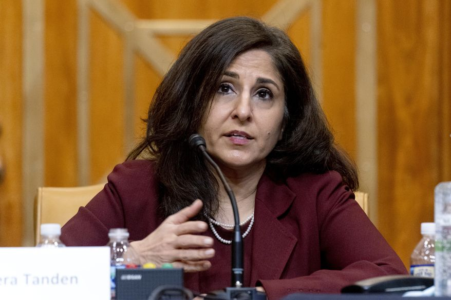 In this Feb. 10, 2021, photo, Neera Tanden, President Joe Biden's nominee for director of the Office of Management and Budget (OMB), testifies during a Senate Committee on the Budget hearing on Capitol Hill in Washington. (AP Photo/Andrew Harnik, Pool) **FILE**