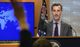 State Department spokesman Ned Price speaks during daily press briefing at the State Dept., Monday, Feb. 22. 2021 in Washington. (Nicholas Kamm /Pool via AP)