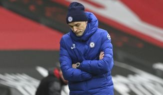 Chelsea's head coach Thomas Tuchel reacts during the English Premier League soccer match between Chelsea and Southampton at St. Mary's Stadium in Southampton, England, Saturday, Feb.20, 2021. (Neil Hall/Pool via AP)