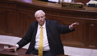 West Virginia Governor Jim Justice speaks during the State of the State Address in the House Chambers of the West Virginia State Capitol Building in Charleston, W.Va., on Wednesday, Feb. 10, 2021. (AP Photo/Chris Jackson)