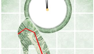 Illustration on the economy by Alexander Hunter/The Washington Times