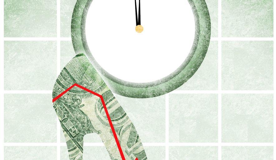 Illustration on the economy by Alexander Hunter/The Washington Times
