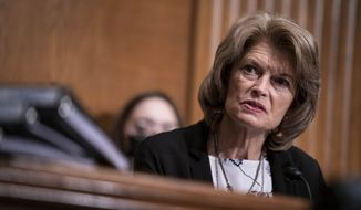 Sen. Lisa Murkowski, R-Alaska, speaks during a confirmation hearing for  Secretary of Health and Human Services nominee Xavier Becerra before the Senate Health, Education, Labor and Pensions Committee, Tuesday, Feb. 23, 2021, on Capitol Hill in Washington. (Sarah Silbiger/Pool via AP) ** FILE **