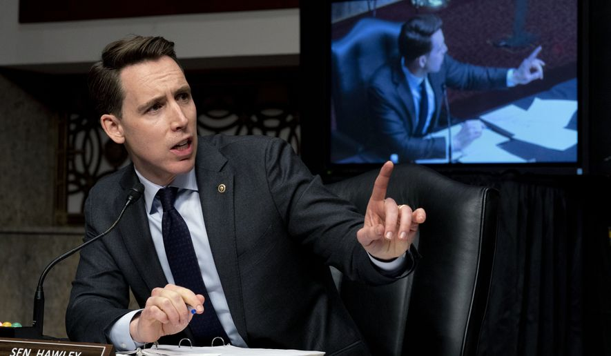 Sen. Josh Hawley, R-Mo., speaks at a Senate Homeland Security and Governmental Affairs & Senate Rules and Administration joint hearing on Capitol Hill, Washington, Tuesday, Feb. 23, 2021, to examine the January 6th attack on the Capitol. (AP Photo/Andrew Harnik, Pool)
