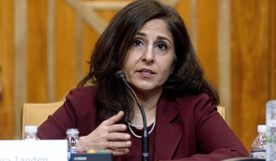 Neera Tanden, President Joe Biden's nominee for director of the Office of Management and Budget (OMB), testifies during a Senate Committee on the Budget hearing on Capitol Hill in Washington. (AP Photo/Andrew Harnik, Pool)