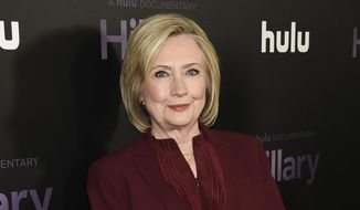 """Former Secretary of State Hillary Clinton attends the premiere of the Hulu documentary """"Hillary"""" in New York on March 4, 2020. (Photo by Evan Agostini/Invision/AP) **FILE**"""