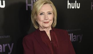 "Former secretary of state Hillary Clinton attends the premiere of the Hulu documentary ""Hillary"" in New York on March 4, 2020. (Photo by Evan Agostini/Invision/AP, File)"