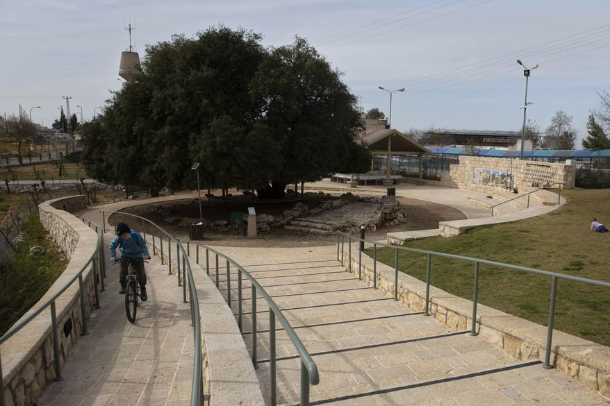 An Israeli Jewish settler youth rides a bicycle on a small promenade built by the Jewish National Fund, also known by its Hebrew acronym KKL, near the Israeli West Bank settlement of Alon Shvut, Monday, Feb. 22, 2021. The fund acquires land, plants trees and carries out development projects, and is considering formally expanding its activities into the occupied West Bank, deepening the rift between left-leaning Jewish groups in the United States and the increasingly right-wing Israeli government. (AP Photo/Sebastian Scheiner)