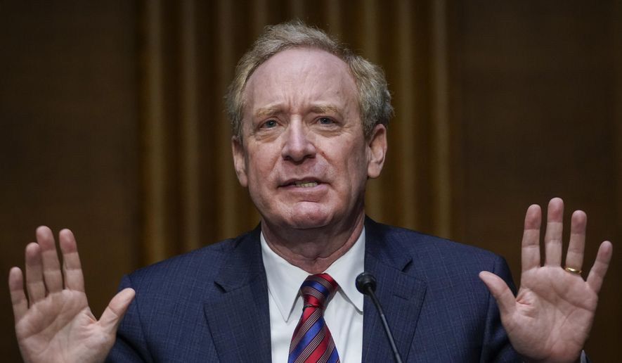 Microsoft President Brad Smith speaks during a Senate Intelligence Committee hearing on Capitol Hill on Tuesday, Feb. 23, 2021 in Washington. (Drew Angerer/Photo via AP)