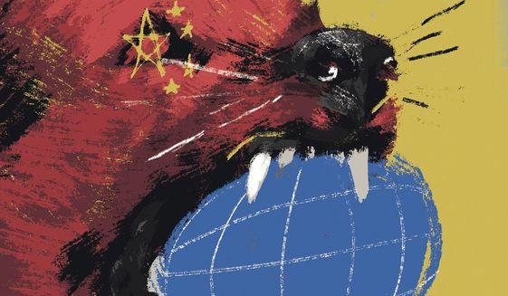 Illustration on Biden and China by Linas Garsys/The Washington Times
