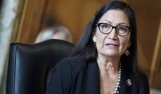 Rep. Debra Haaland, D-N.M., testifies before a Senate Committee on Energy and Natural Resources hearing on her nomination to be Secretary of the Interior on Capitol Hill in Washington, Wednesday, Feb. 24, 2021. (Leigh Vogel/Pool via AP)