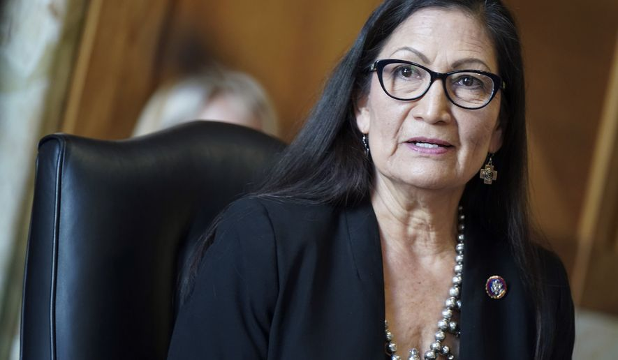 Rep. Debra Haaland, D-N.M., testifies before a Senate Committee on Energy and Natural Resources hearing on her nomination to be Secretary of the Interior on Capitol Hill in Washington, Wednesday, Feb. 24, 2021. (Leigh Vogel/Pool via AP)  **FILE**