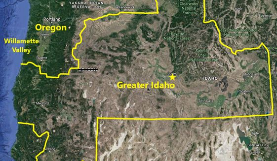 Move Oregon's Border seeks to bring rural Oregon and northern California counties into neighboring Idaho. (Image courtesy of Move Oregon's Border)