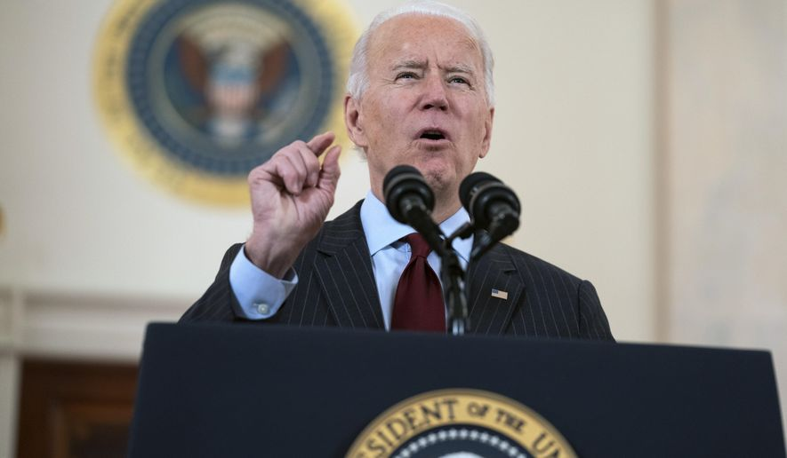 President Joe Biden speaks about the 500,000 Americans that died from COVID-19, Monday, Feb. 22, 2021, in Washington. (AP Photo/Evan Vucci)
